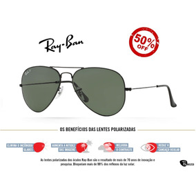 Óculos Ray Ban 3025 Aviator Preto Com Lentes Escuras De Sol - Óculos ... c95fc2e56c