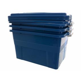 Caixa Plástica Organizadora 70 Litros Azul Kit 03 Peças