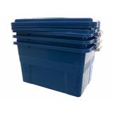 Caixa Plástica Organizadora 70 Litros Azul Kit 05 Peças