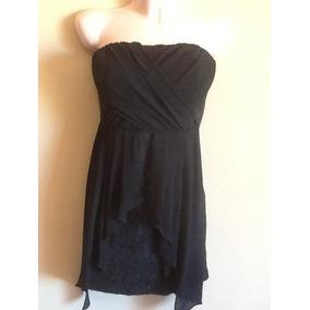 Hermoso Vestido Negro A Dos Telas Talla M Corto Strapless