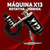 Maquina X13 Rotativa Tatuagem Potente Hibrida Com Cabo Rca
