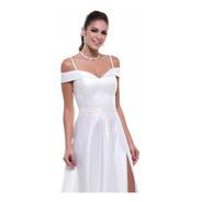 Vestido Zibeline Madrinha Branco Azul Royal Rose Marsala