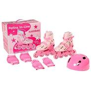 Patins Roller In-line Rosa 38 A 41 Menina Com Acessórios