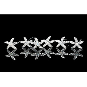 Set Of 6 Starfish Sea Star Rhinestone Crystal Hair Pins H032