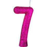 Vela Para Aniversário Cintilante Número Pink