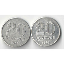 20 Centavos 1960 E 1961 Aluminio Frete 10 Reais