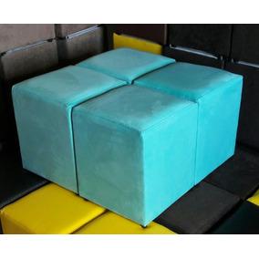 Puff Kit 4 Pufes Azul Turquesa Suede Liso Puf