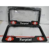 Porta Placa Plastico Para Carro Negro Con Logo Turpial