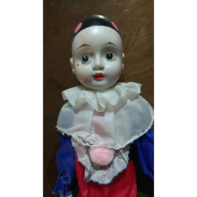 Arlequín Muñeco Porcelana Antiguo Porcelain Dolls