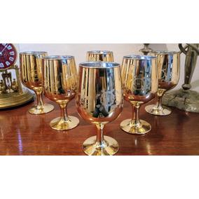 Copas De Vino Doradas Nuevas Con Decoración De 15x7 Cm
