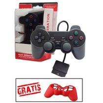 Kit 2 Controles Manete Playstation 2 Vibratório - Cabo Longo