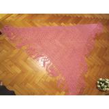 Chal (1/2 Poncho) De Hilo Tejido Al Crochet Color Fucsia