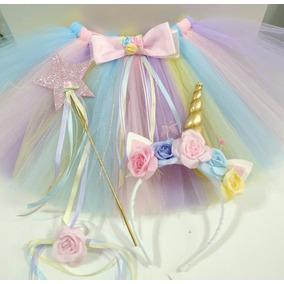 Tutu Princesa + Corona/unicornio + Varita Talle Medium