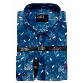 Camisa Social Ricardo Almeida Office Azul Escuro Com Penas