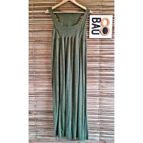 013 - Vestido Longo Verde De Malha Primavera-verão