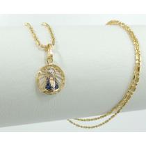 Pingente Nossa Senhora Aparecida Ouro 18k 750 Manto Azul