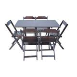 Jogos De Mesa Bar 120x70 Com 6 Cadeiras Dobrável Em Madeira