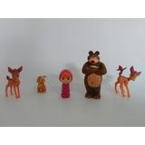 Kit Com 5 Bonecos Masha E O Urso+animais Festa Bolo Decorar
