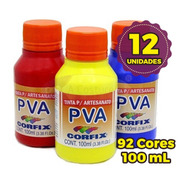 Tinta Pva Para Artesanato Corfix 100ml - Kit 12 Unidades