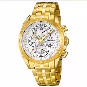 Relógio Festina Masculino Aço Dourado - Modelo F16656/3