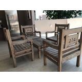 Conjunto 4 Cadeiras De Madeira Com Mesinha Para Varanda