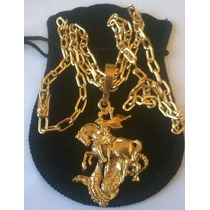 Cordão Cadeado Com São Jorge _ Prata Banhada A Ouro 24k