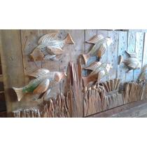 Quadro De Arte Talhado / Esculpido Em Madeira Maciça Rústica