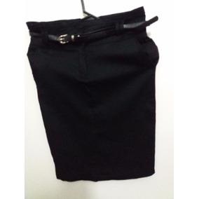 Preciosa Pollera Negra De Tiro Alto, Con Cinturon. Talle S.