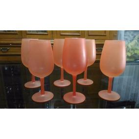 Hermoso Set De 6 Copas De Cristal - Color Coral - Tesoros
