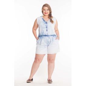 Macaquinho Macacão Jeans Plus Size 54 56