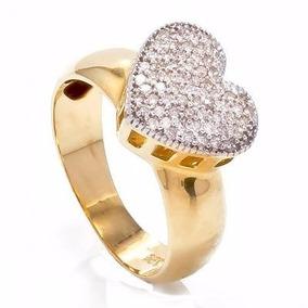 Anel Chuveiro Coração Grande Em Ouro18 E Diamantes Jk12