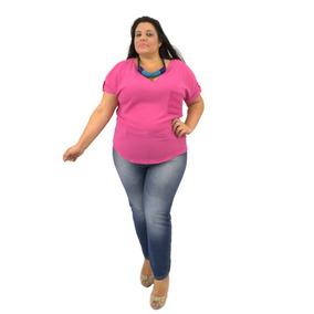 Blusa Plus Size Manga Curta Tipo Camiseta Crepe Pink