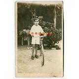 Antigua Foto Postal Niño Con Bicicleta Regalo De Reyes