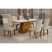 Sala Jantar C/ Tampo Vidro E 6 Cadeiras Lunara Rufato