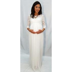 Vestido De Maternidad Formal En Color Blanco