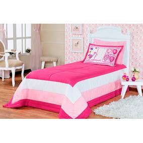 Kit Cobre Leito Infantil Menina Solteiro Rosa Pink 03 Peças