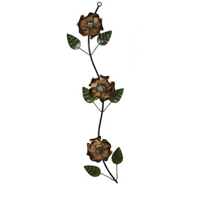 Enfeite De Parede Cor Branco Com Betume 03 Rosas