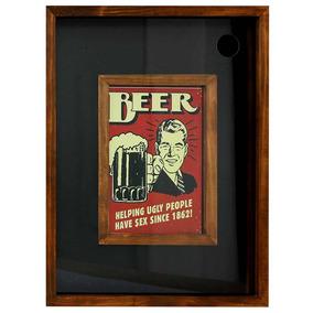 Quadro Porta Rolhas E Tampinhas Beer Retro - Cia Laser