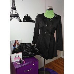 Trench Patt Talla 40, Color Negro, Hermoso Diseño Frontal