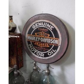 Cartel Madera Grande Laqueado Harley Davidson Shabby Chic
