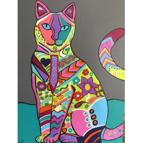 Pintura Cuadro Hecho A Mano Gato Alebrije 40x30 Pop Moderno