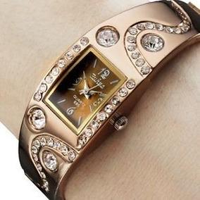 Relógio De Pulso Feminino Quartz Pulseira Em Metal Bronze