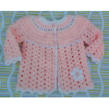 Saquito Bebé Tejido A Mano Crochet Talle O A 12 Meses