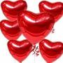 10 Balão Metalizado Coração Vermelho 45cm Decoração Namorado