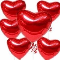 50 Balão Metalizado Coração Vermelho 45cm Gás Hélio Festa