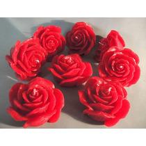 Velas Decorativas - Kit Com 5 Velas Formato De Rosa Grande