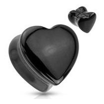 Par De Expansores Tapon Plug Hear Corazon Negro (8mm A 20mm)