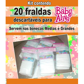 20 Fraldas Descartáveis P\ Baby Alive Grandes E Médias