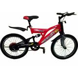 Bicicleta Infantil R20 Con Suspensión, Negro Con Rojo