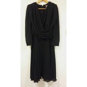 Vestido Retro De Fiesta Plisado Negro Escote Cruzado Talle M